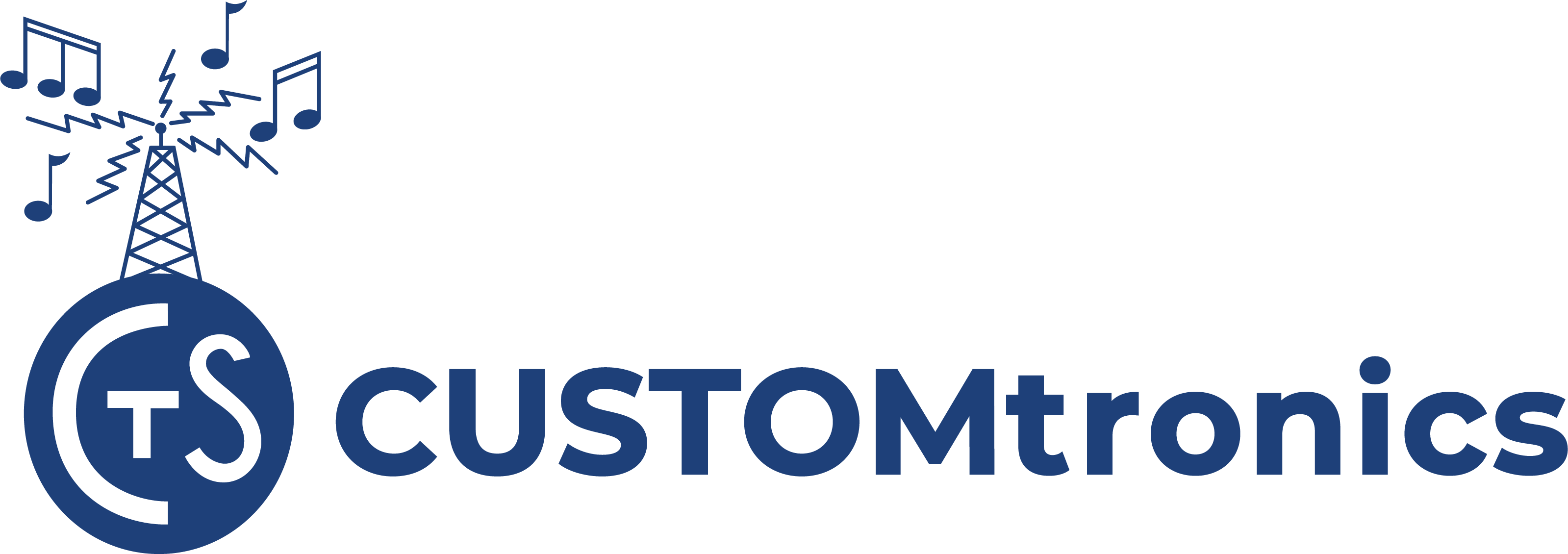 Customtronics Name and Logo blue
