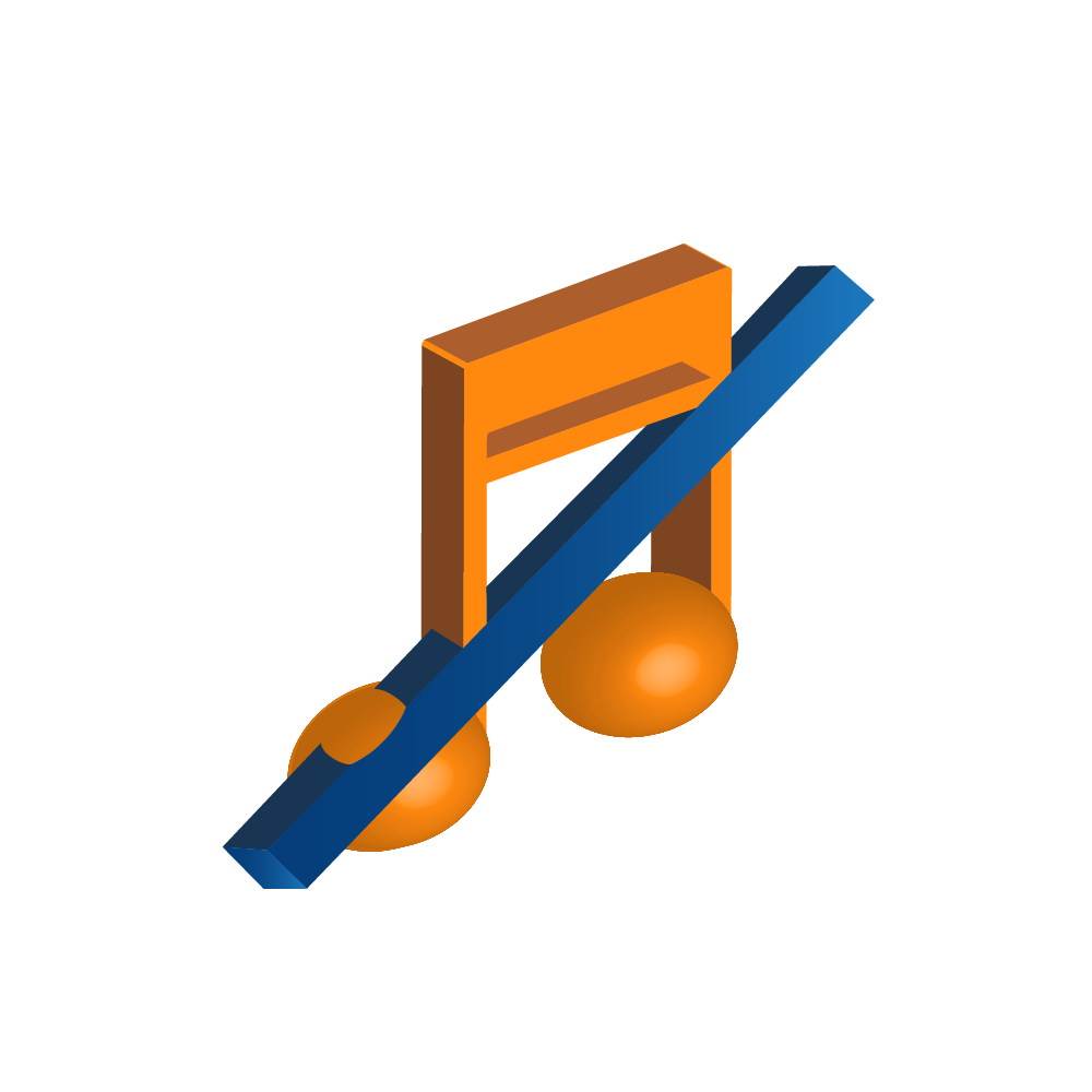 Icon with music note crossed out representing blocking songs and artists
