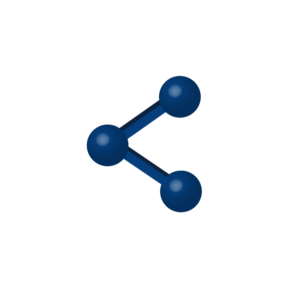 Icon of three dots connected to represent sharing
