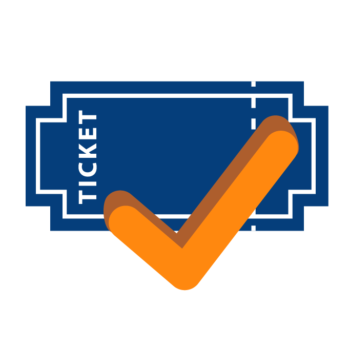 ticket with a check mark