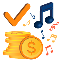 Music notes, checkmark and dollars representing licensed music and customizable playlists